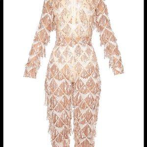 97fefed203 Pants - Rose Gold Tassel Sequin Plunge Jumpsuit
